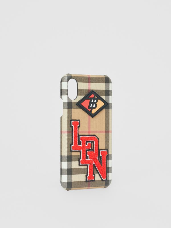 Funda para iPhone X/XS a cuadros Vintage Checks con logotipos (Beige) - Mujer | Burberry - cell image 2
