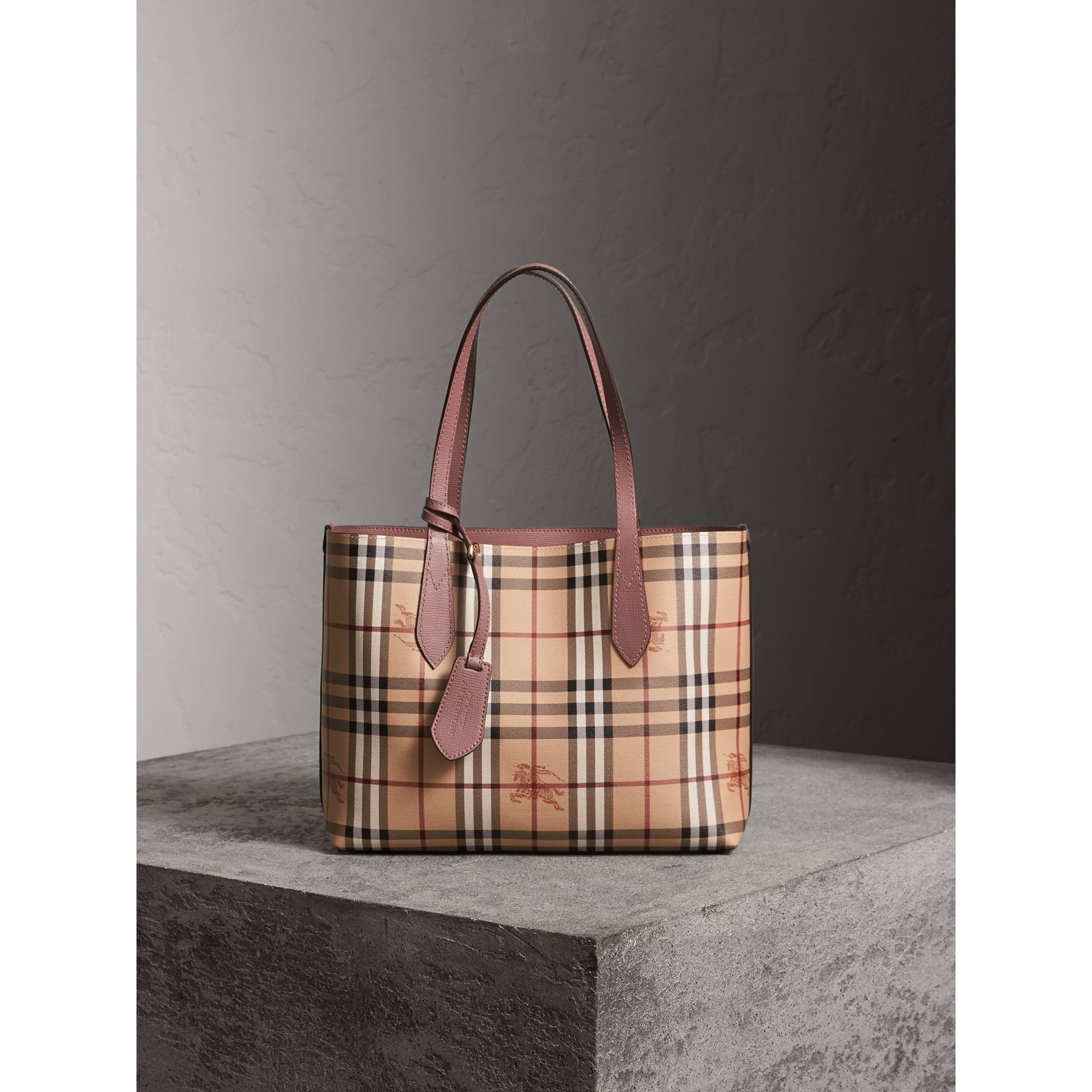 The Small Reversible Tote in Haymarket Check and Leather in Light Elderberry - Women | Burberry United States - gallery image 6