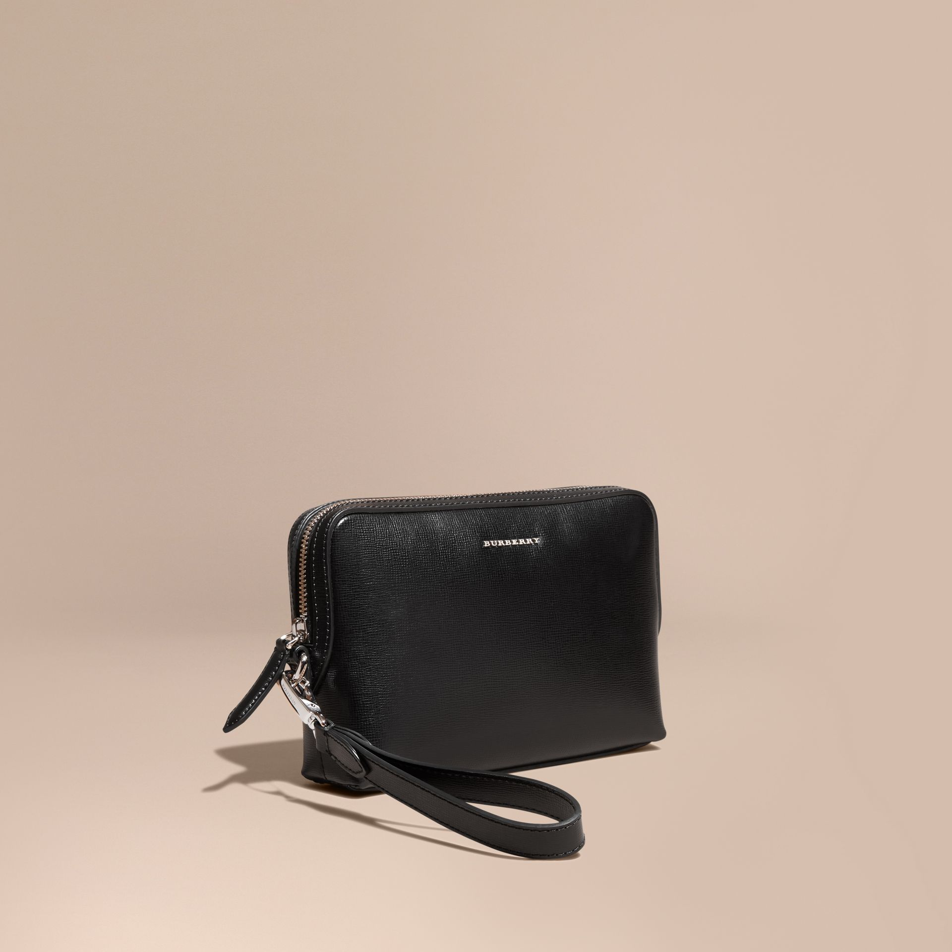 London Leather Pouch in Black - Men | Burberry - gallery image 1