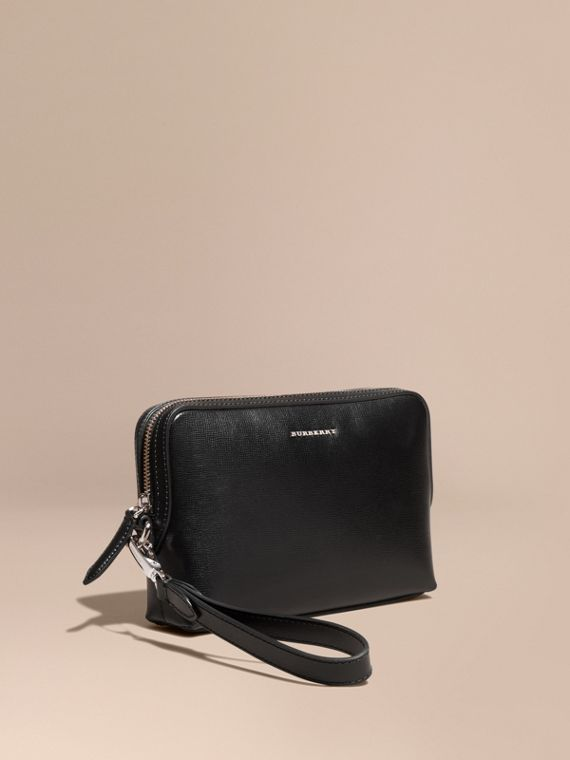 London Leather Pouch in Black - Men | Burberry