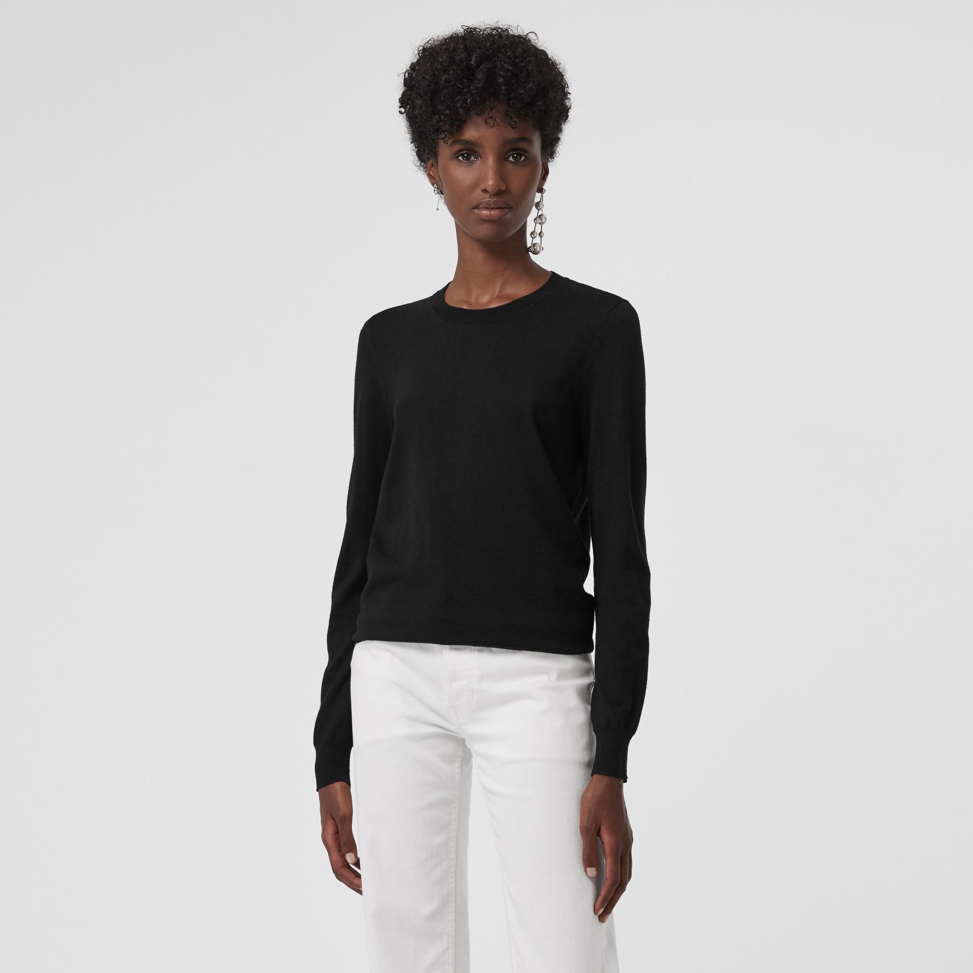 Check Detail Merino Wool Crew Neck Sweater in Black - Women   Burberry Canada - gallery image 4