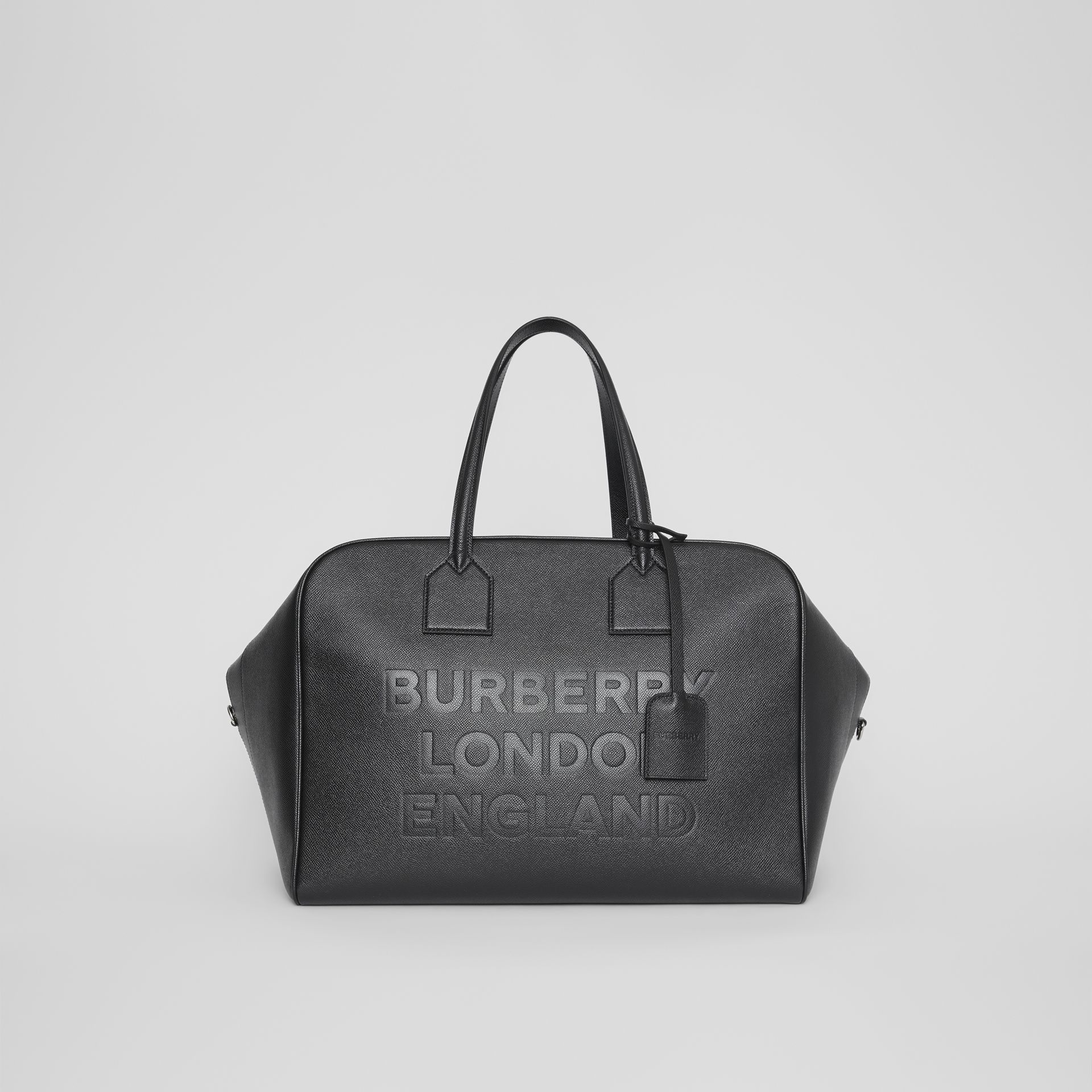 Logo Embossed Leather Holdall in Black | Burberry United Kingdom - gallery image 0