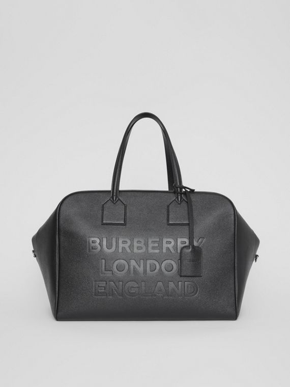Logo Embossed Leather Holdall in Black