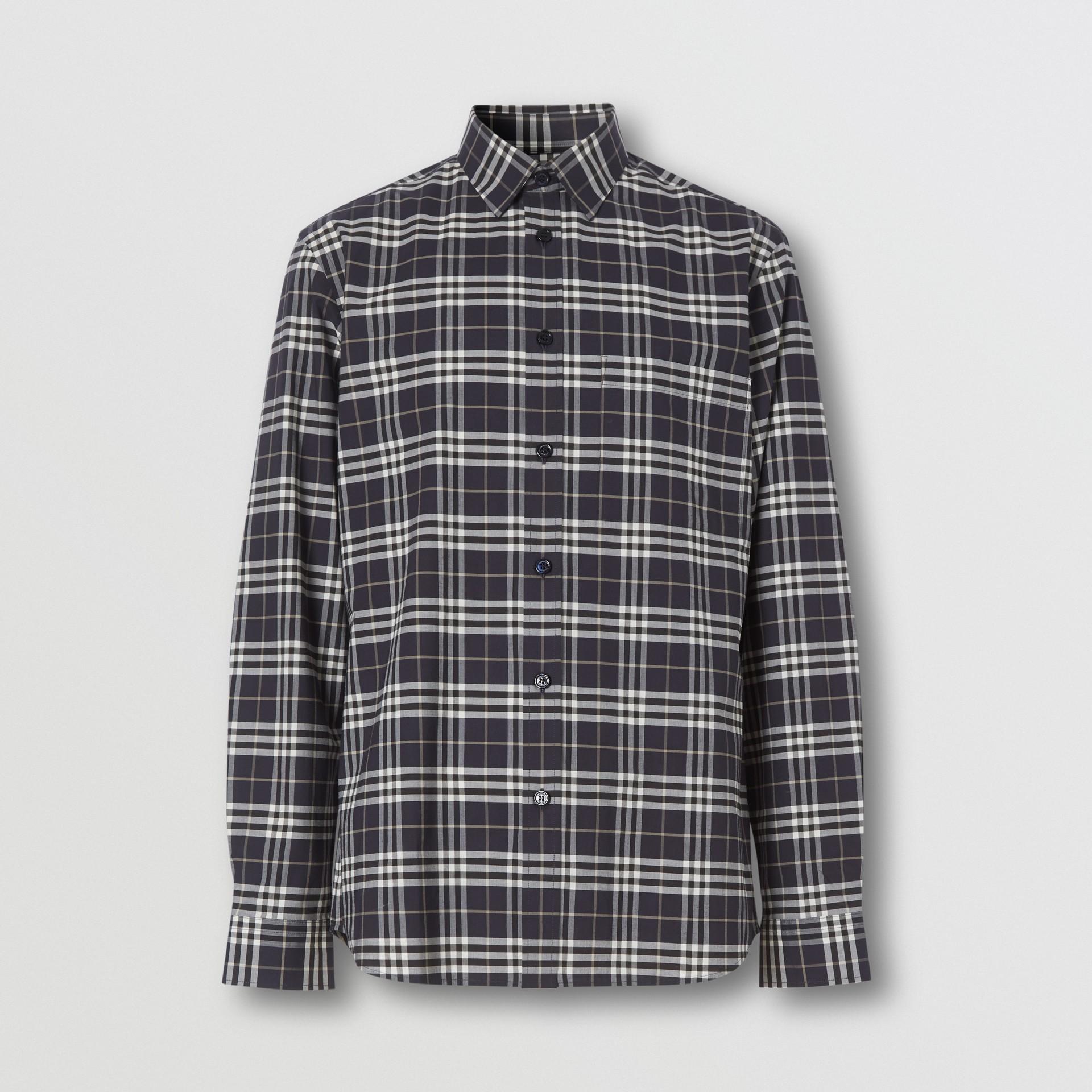 Small Scale Check Stretch Cotton Shirt in Dark Regency Blue - Men | Burberry Australia - gallery image 3
