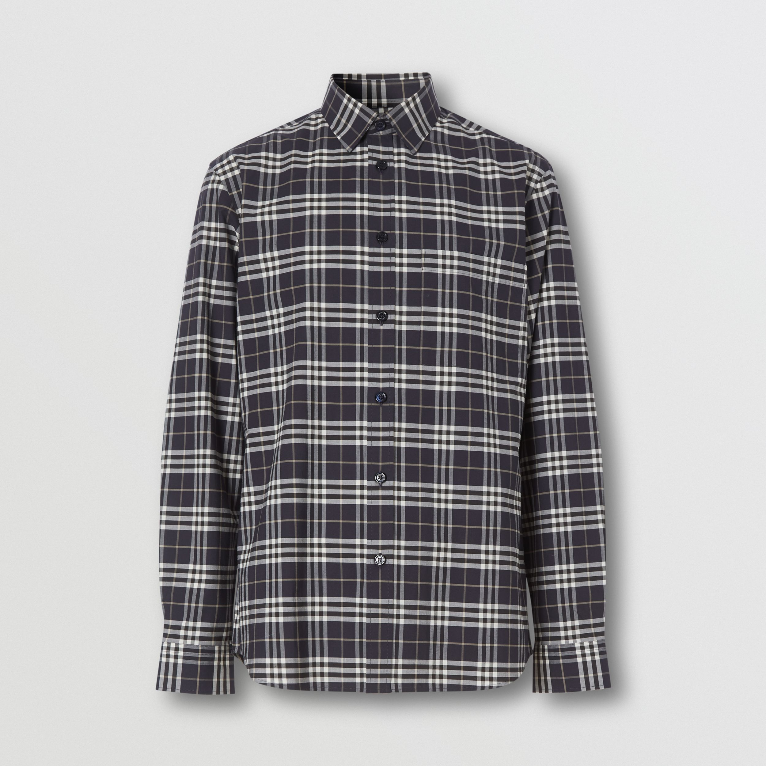 Small Scale Check Stretch Cotton Shirt in Dark Regency Blue - Men | Burberry - 4
