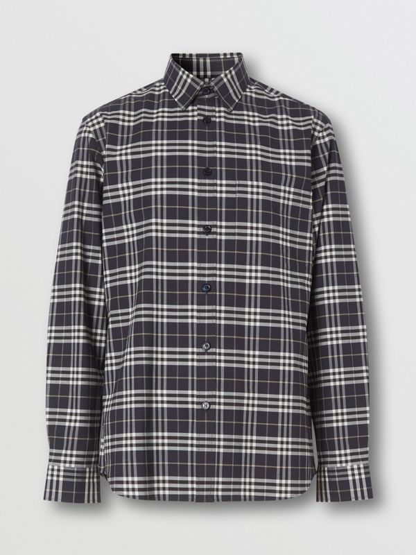 Small Scale Check Stretch Cotton Shirt in Dark Regency Blue - Men | Burberry Australia - cell image 3