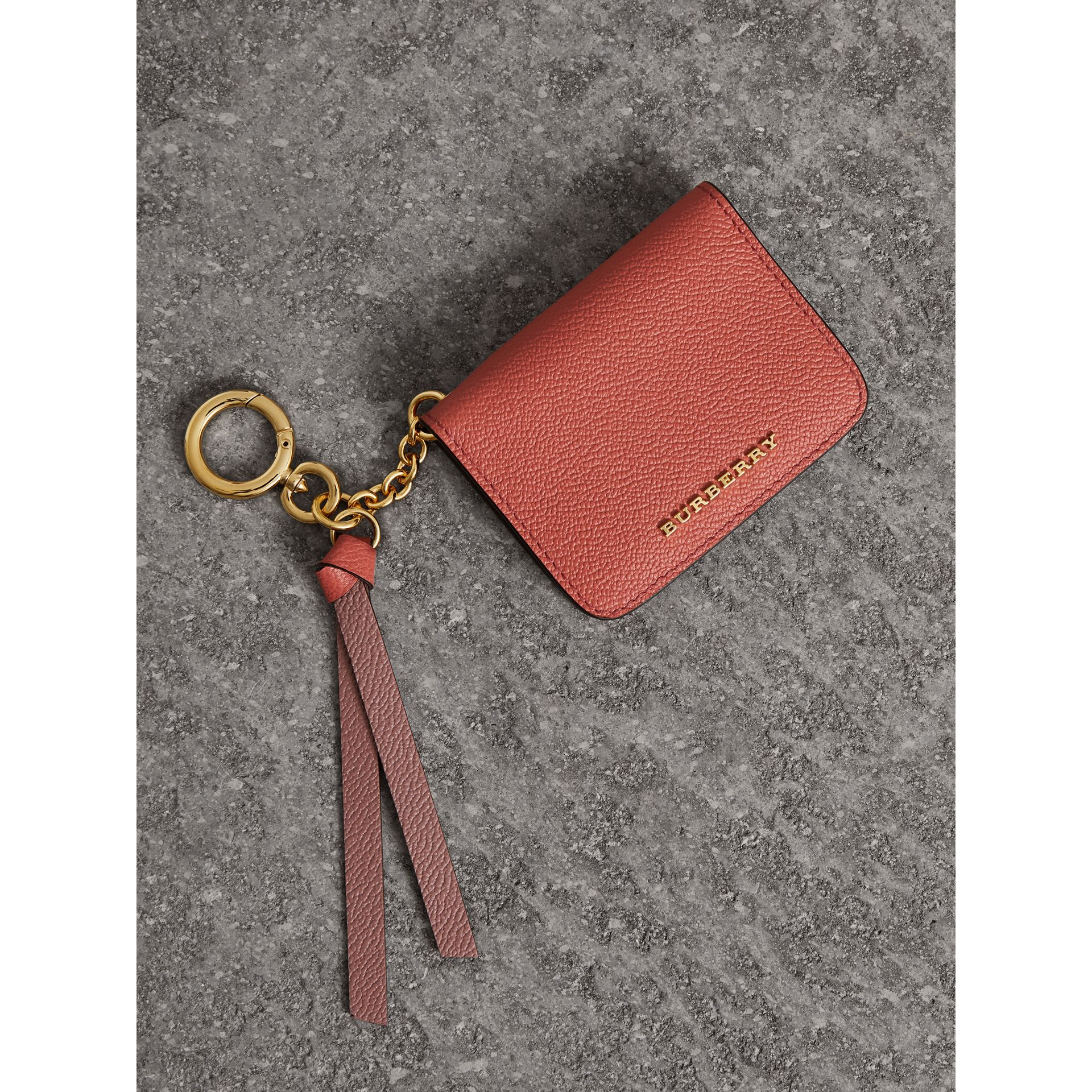 Leather and Haymarket Check ID Card Case Charm in Cinnamon Red/multi - Women | Burberry - gallery image 0