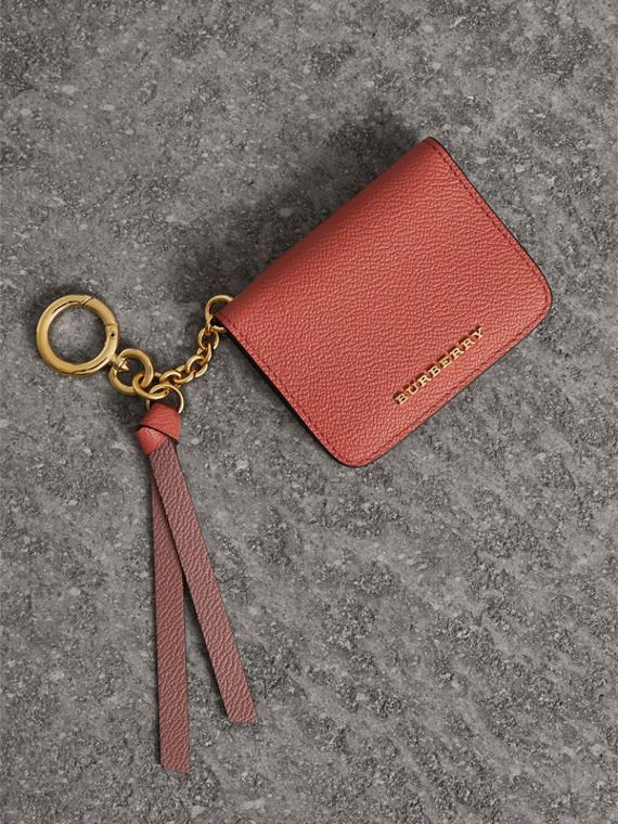Leather and Haymarket Check ID Card Case Charm in Cinnamon Red/multi
