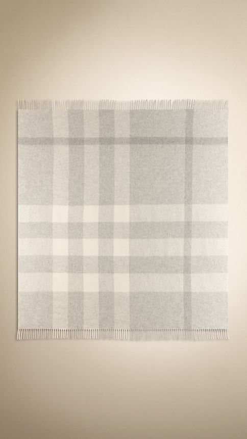 Pale grey Check Cashmere Blanket - Image 4