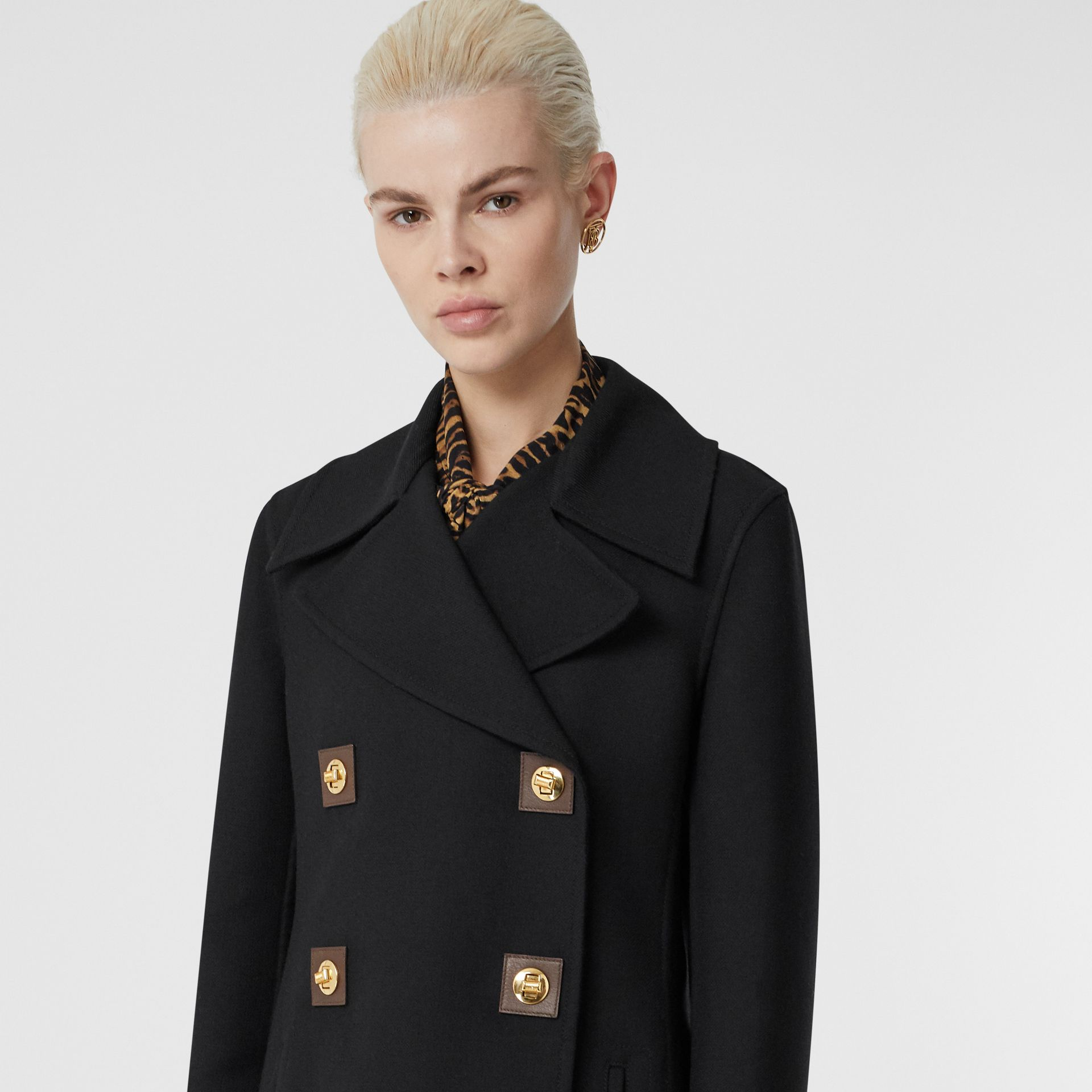 Double-faced Wool Pea Coat in Black - Women | Burberry United Kingdom - gallery image 1