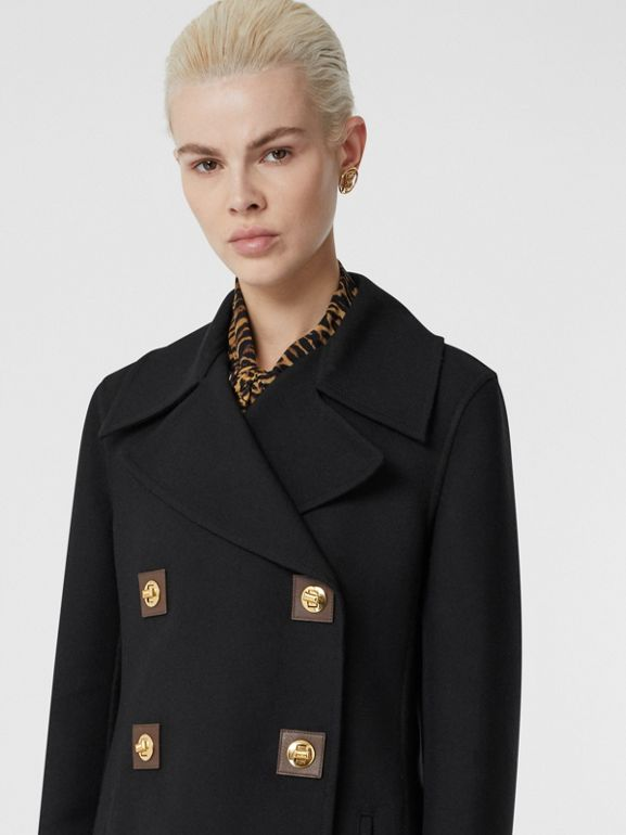 Double-faced Wool Pea Coat in Black - Women | Burberry United Kingdom - cell image 1