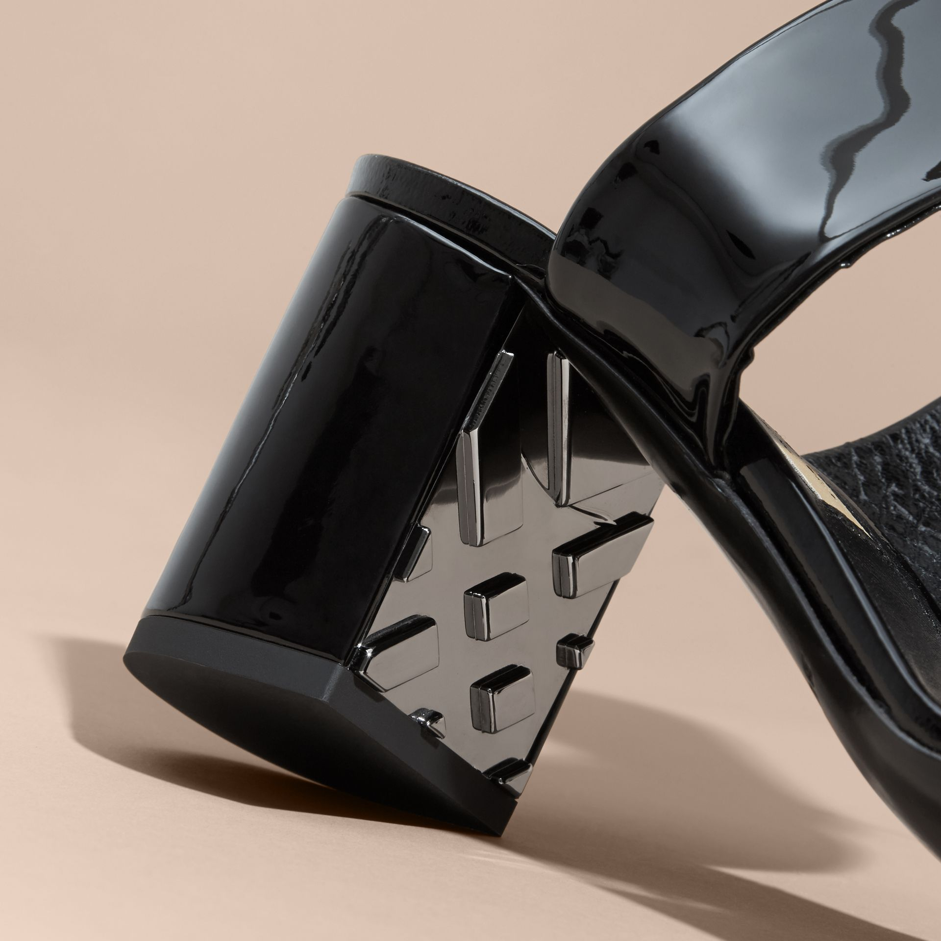 Patent Leather Sandals with Buckle and Check Detail Black - gallery image 2