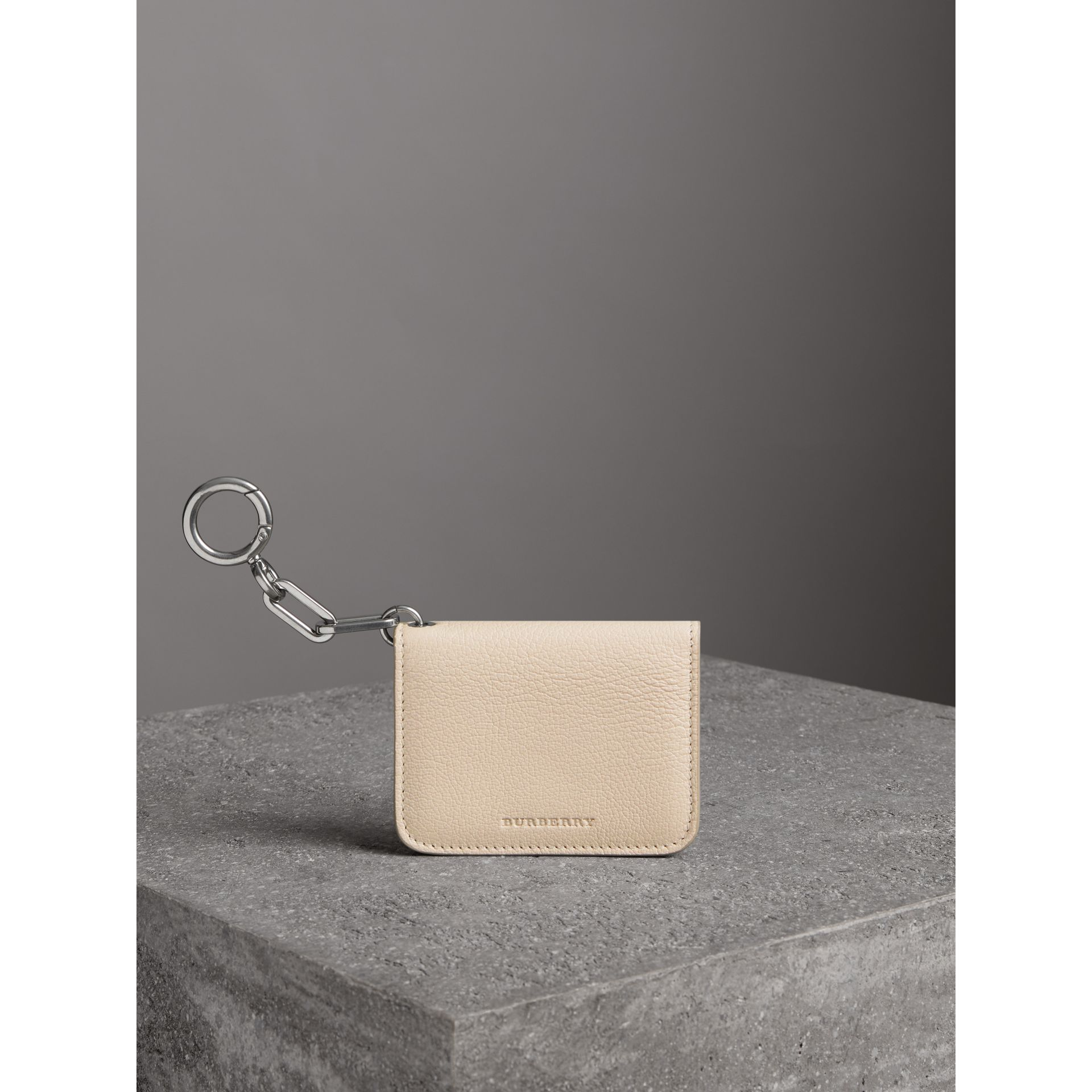 Link Detail Leather ID Card Case Charm in Stone | Burberry - gallery image 4