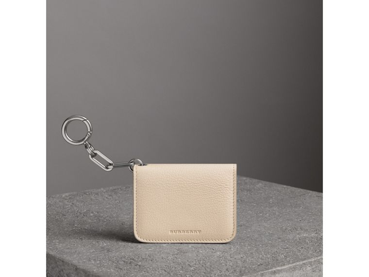 Link Detail Leather ID Card Case Charm in Stone | Burberry - cell image 4