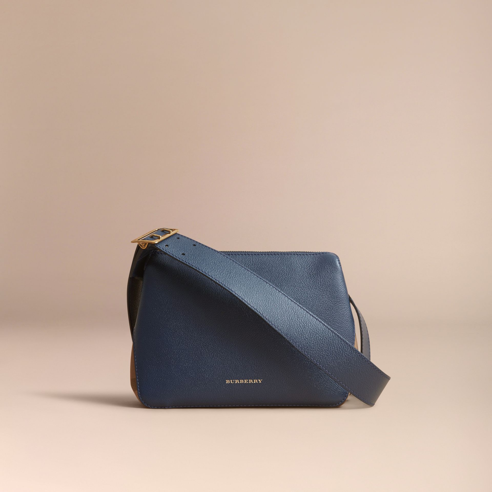 Buckle Detail Leather and House Check Crossbody Bag in Blue Carbon - Women | Burberry Australia - gallery image 7