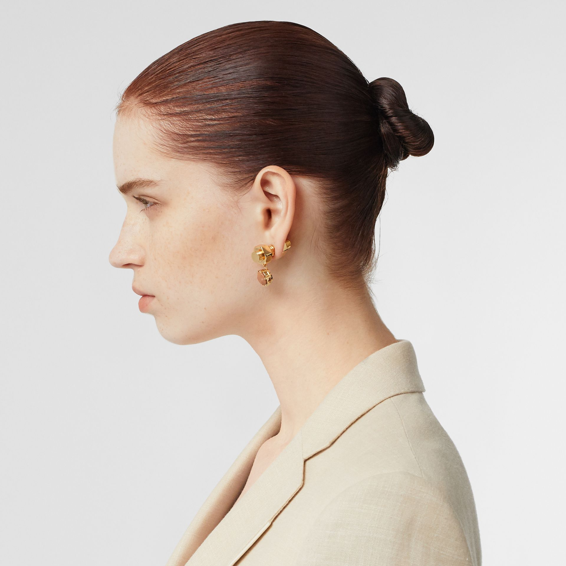 Leather Charm Gold-plated Nut and Bolt Earrings in Nutmeg/light - Women | Burberry - gallery image 2