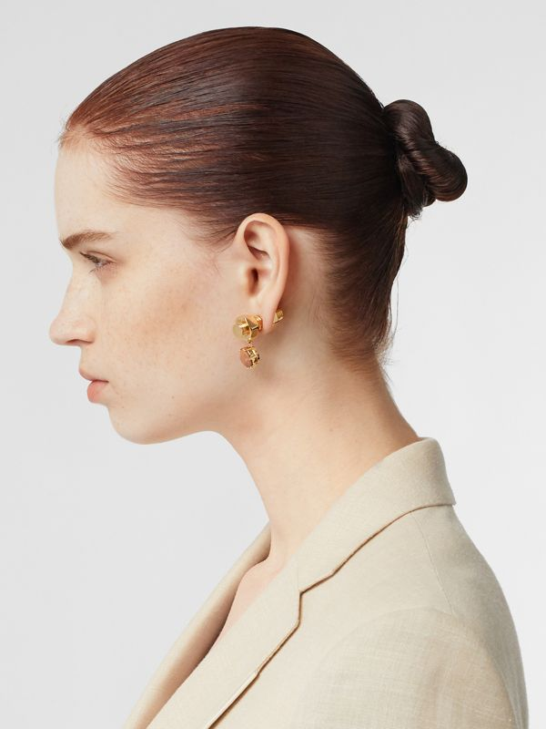 Leather Charm Gold-plated Nut and Bolt Earrings in Nutmeg/light - Women | Burberry Hong Kong S.A.R - cell image 2