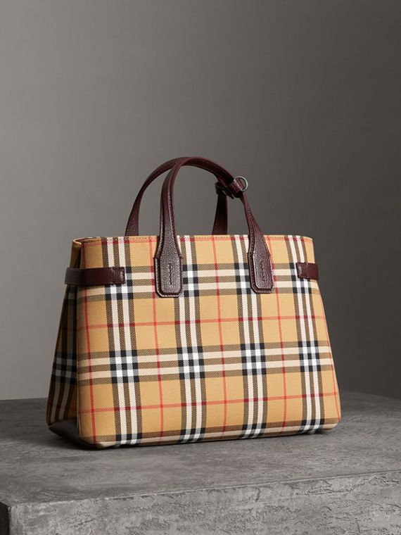 The Medium Banner in Vintage Check and Leather in Deep Claret