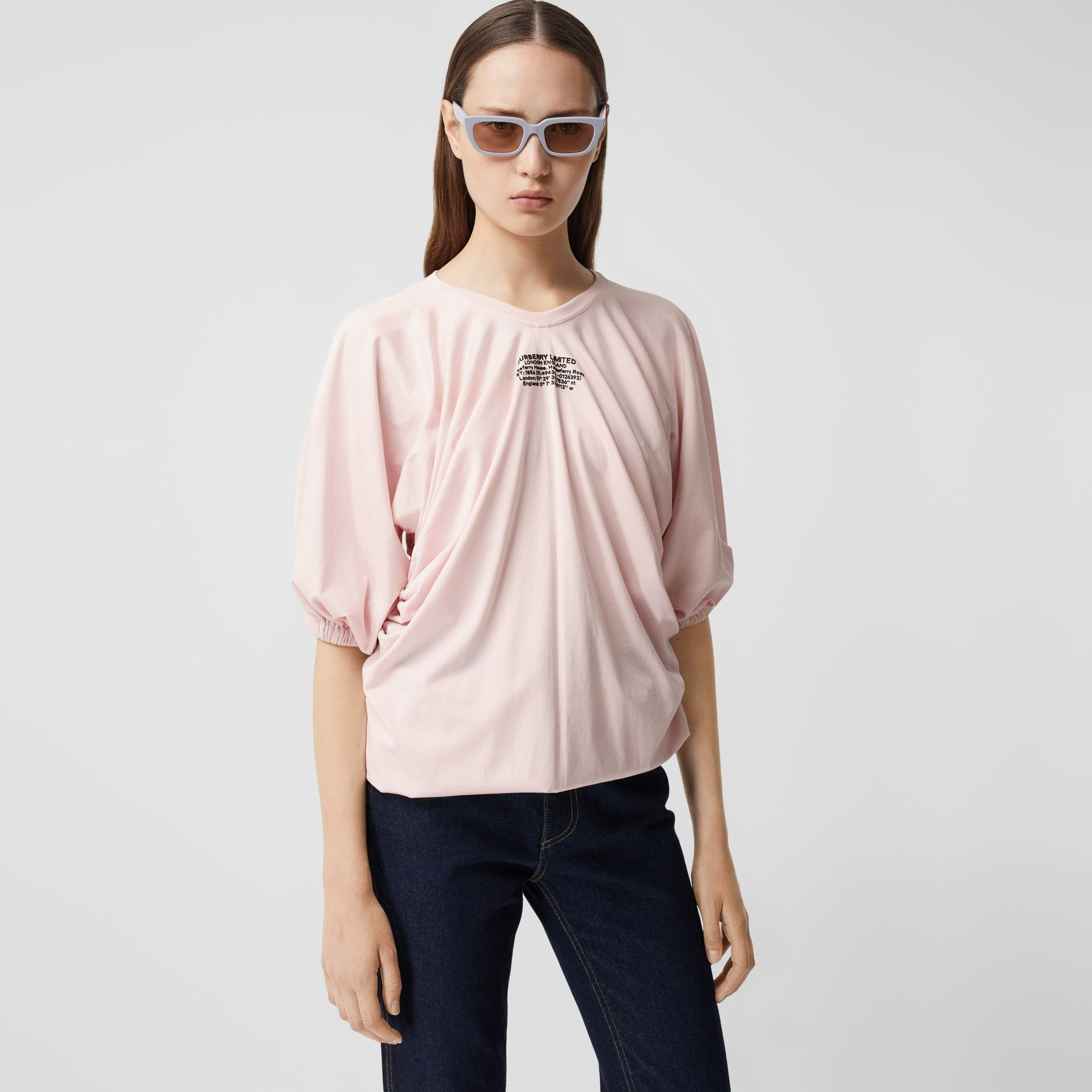 Location Print Gathered Cotton Oversized T-shirt - Women | Burberry - 1