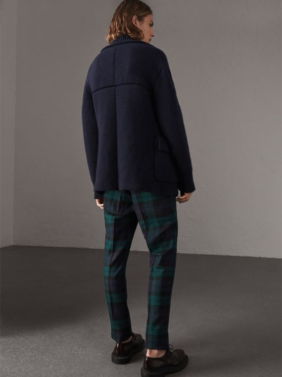 Knitted Wool Cashmere Blend Jacket in Navy - Men | Burberry - cell image 2