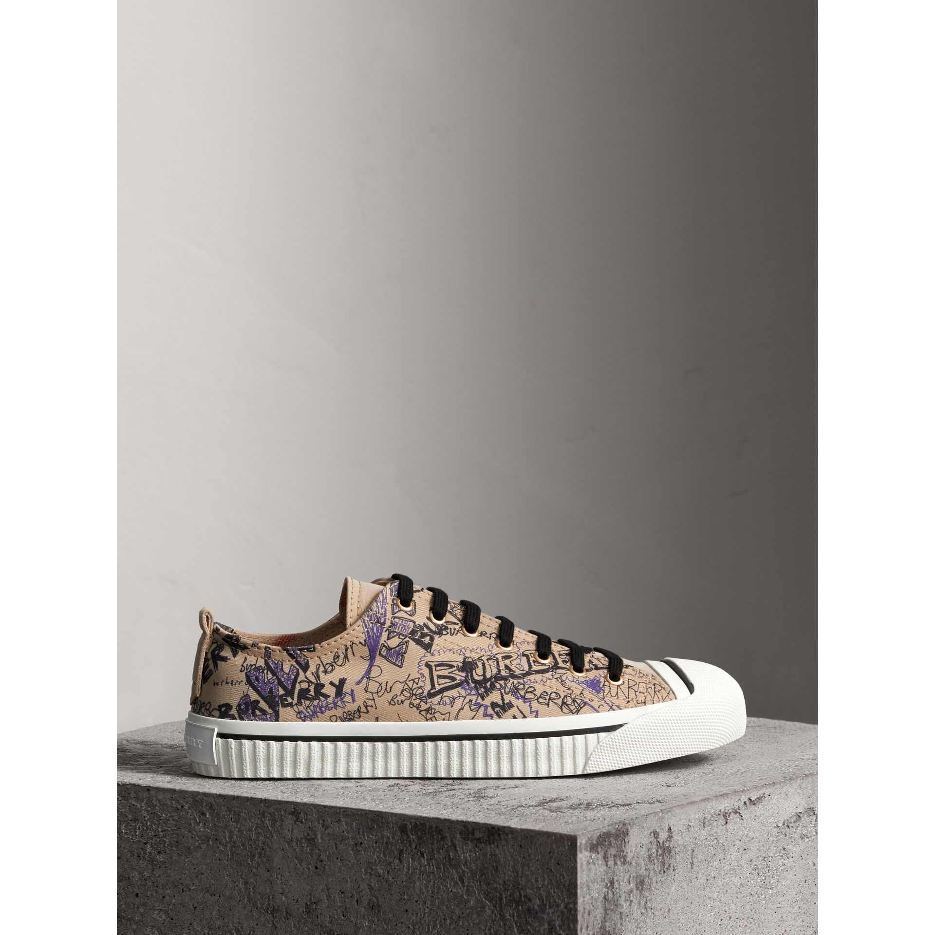 Doodle Print Cotton Gabardine Trainers in Honey - Men | Burberry - gallery image 5