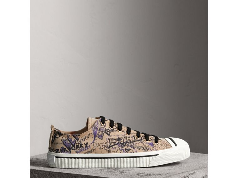 Doodle Print Cotton Gabardine Trainers in Honey - Men | Burberry - cell image 4