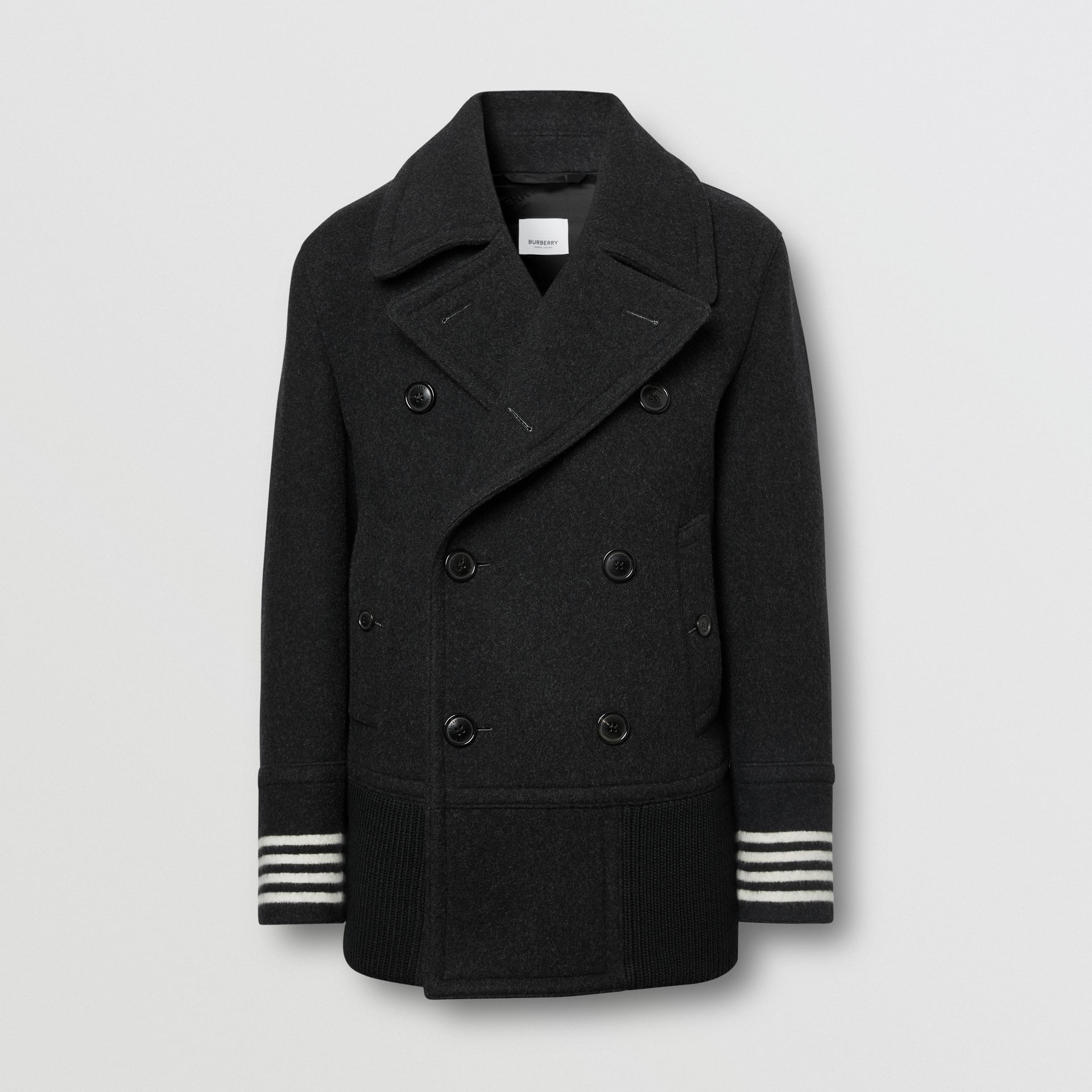 Striped Cuff Wool Pea Coat in Black - Men | Burberry - gallery image 3
