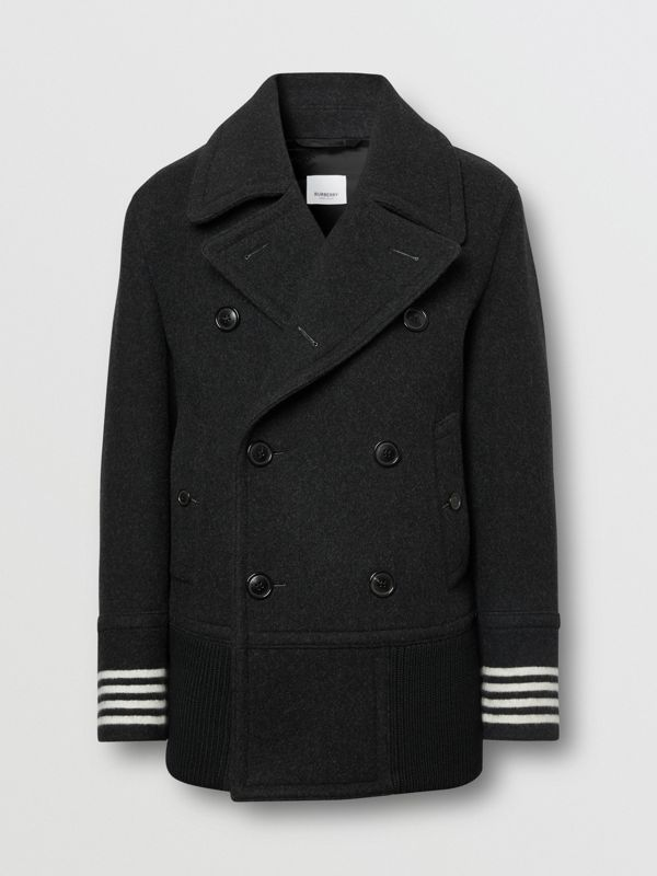 Striped Cuff Wool Pea Coat in Black - Men | Burberry - cell image 3