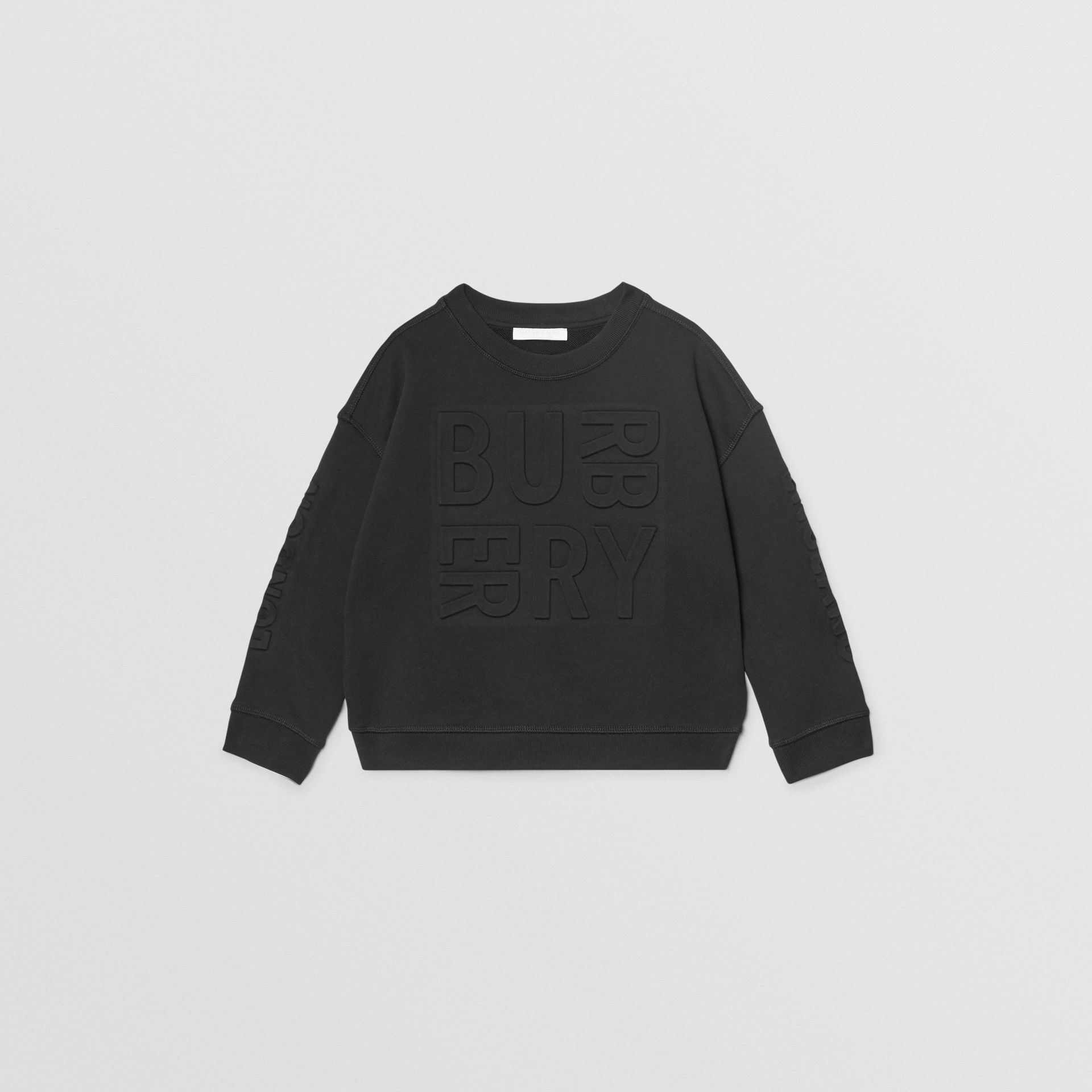 Embossed Logo Cotton Sweatshirt in Black | Burberry - gallery image 0