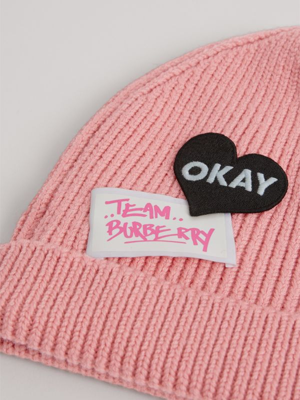 Patch Detail Merino Wool Beanie in Dusty Pink | Burberry United States - cell image 3