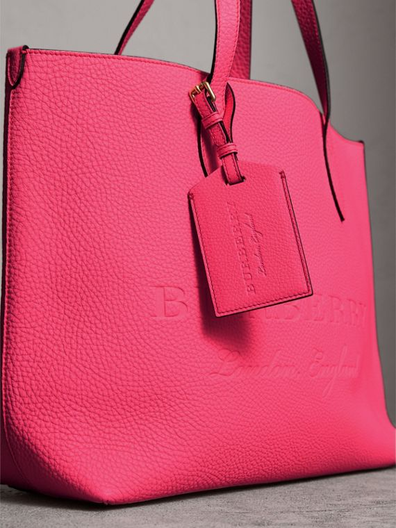 Embossed Leather Luggage Tag in Bright Pink | Burberry - cell image 3