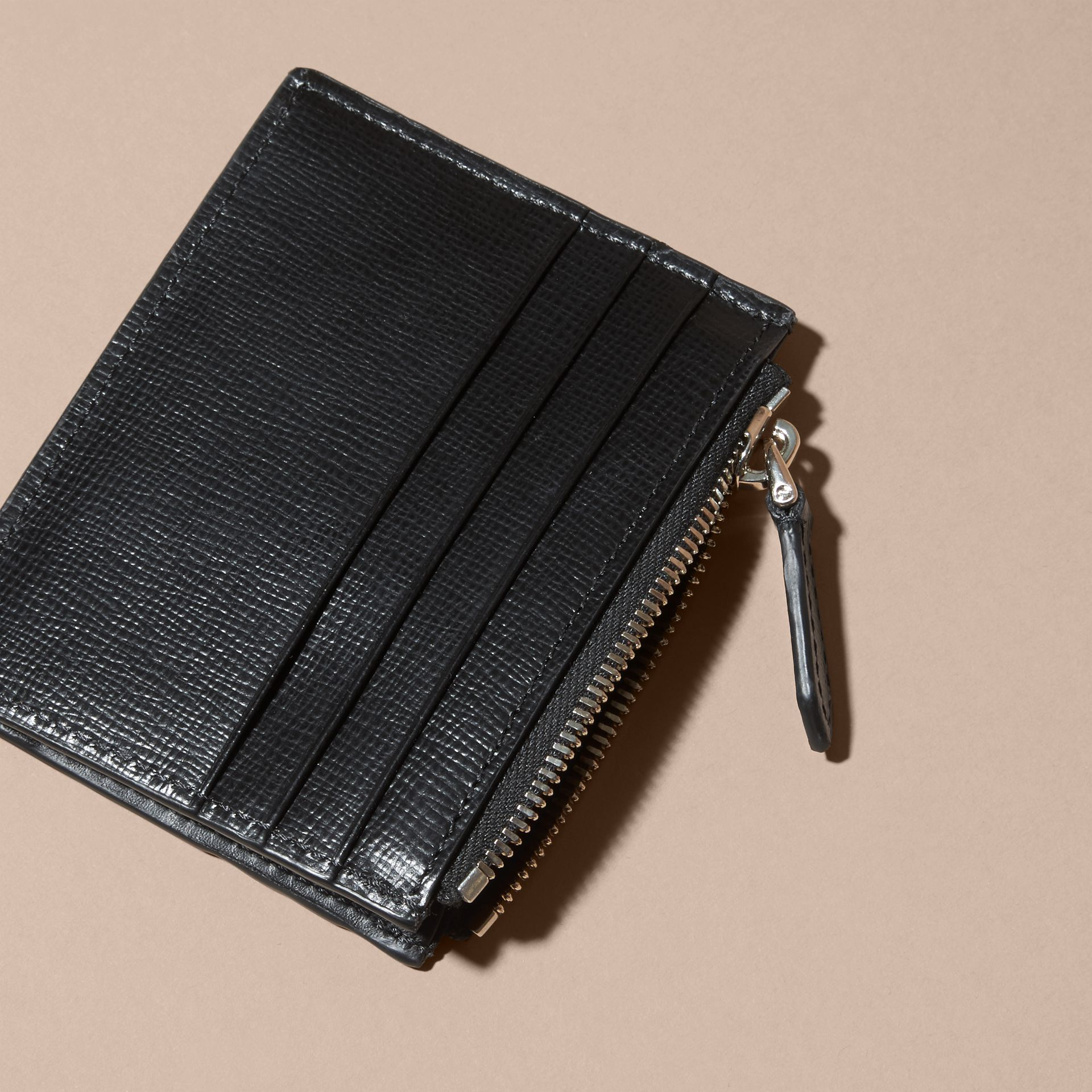 London Leather Zip-top Card Case in Black | Burberry - gallery image 4