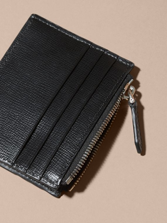 Black London Leather Zip-top Card Case Black - cell image 3