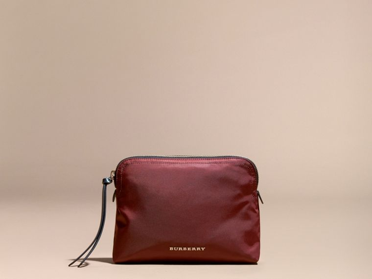 Large Zip-top Technical Nylon Pouch in Burgundy Red - cell image 4