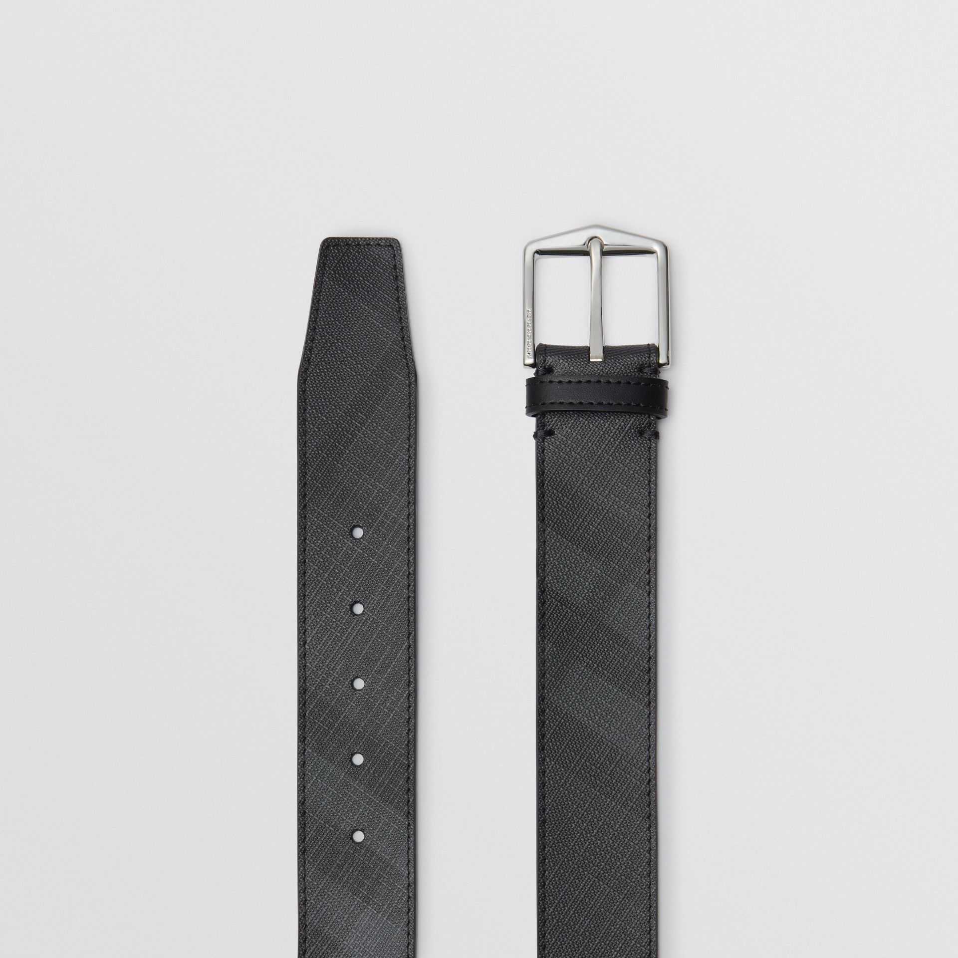 Leather Trim London Check Belt in Charcoal/black - Men | Burberry - gallery image 5