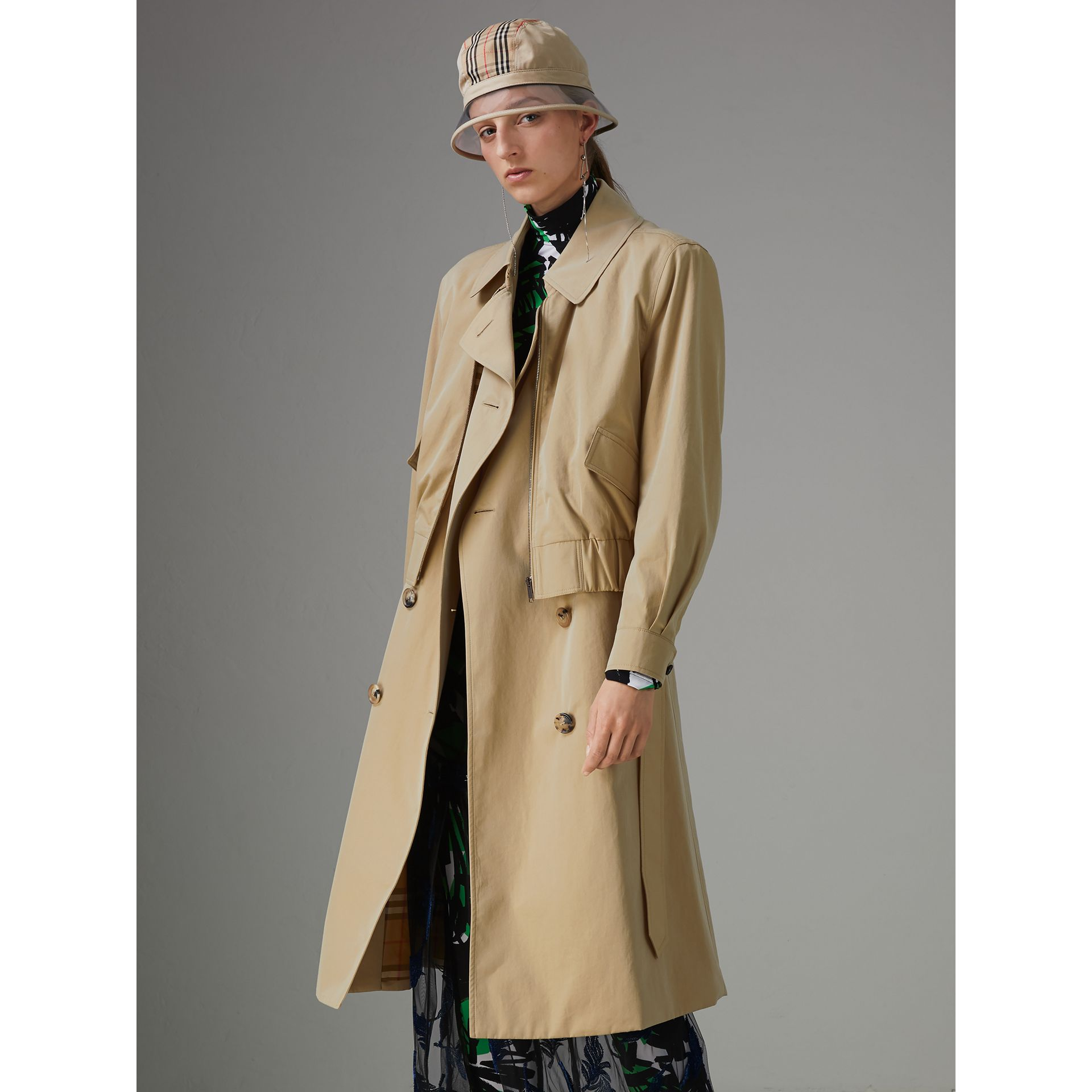 Tropical Gabardine Reconstructed Harrington Trench Coat in Honey - Women | Burberry - gallery image 5