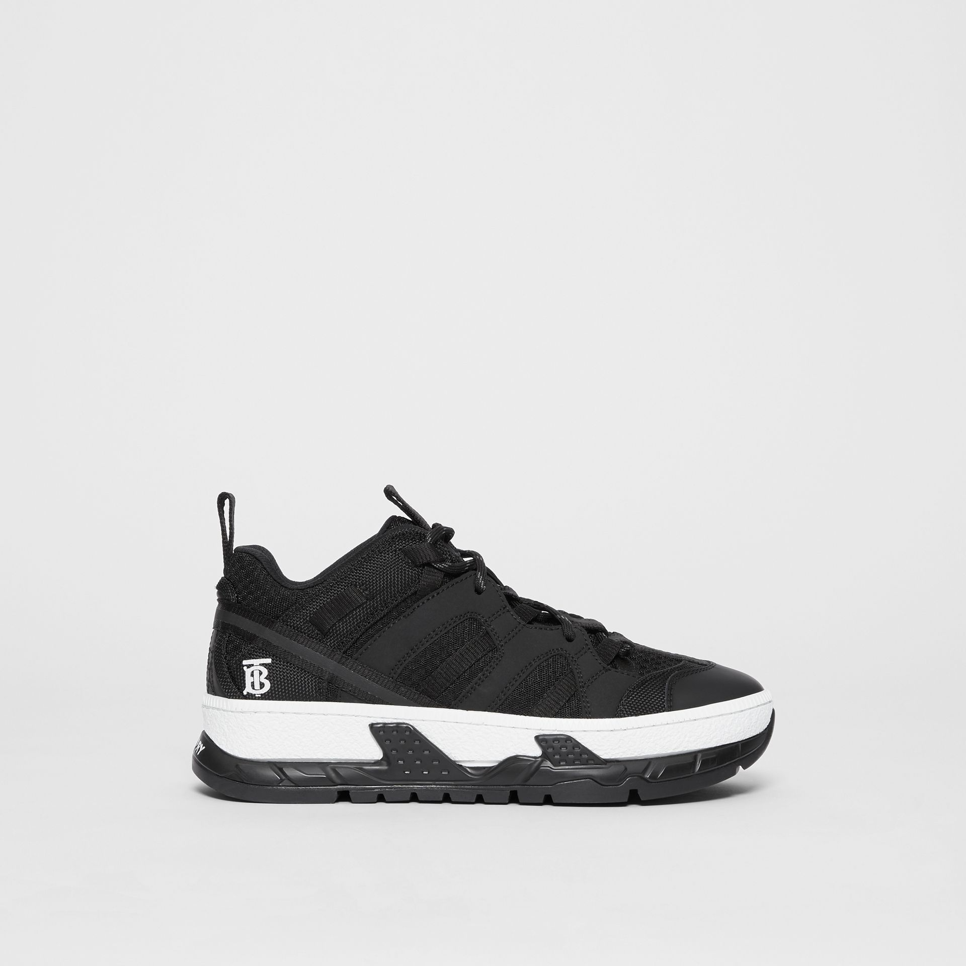 Monogram Motif Mesh and Nubuck Sneakers in Black - Women | Burberry - gallery image 3