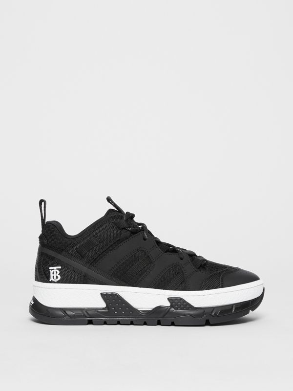 Monogram Motif Mesh and Nubuck Sneakers in Black - Women | Burberry - cell image 3