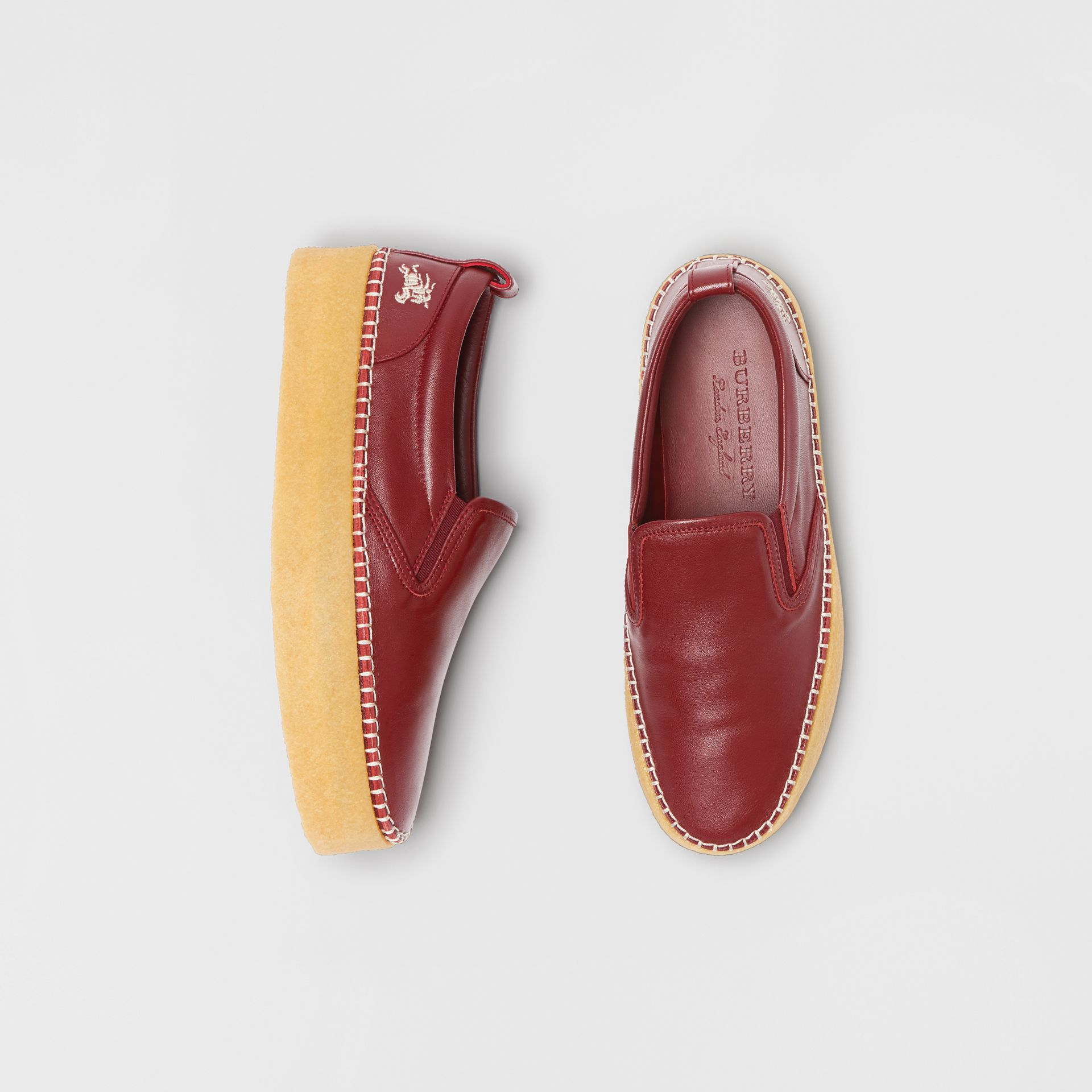 Leather Slip-on Sneakers in Bordeaux - Women | Burberry United States - gallery image 0