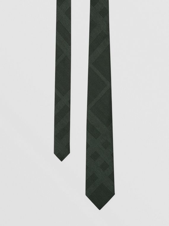 Classic Cut Check Silk Tie in Dark Forest Green