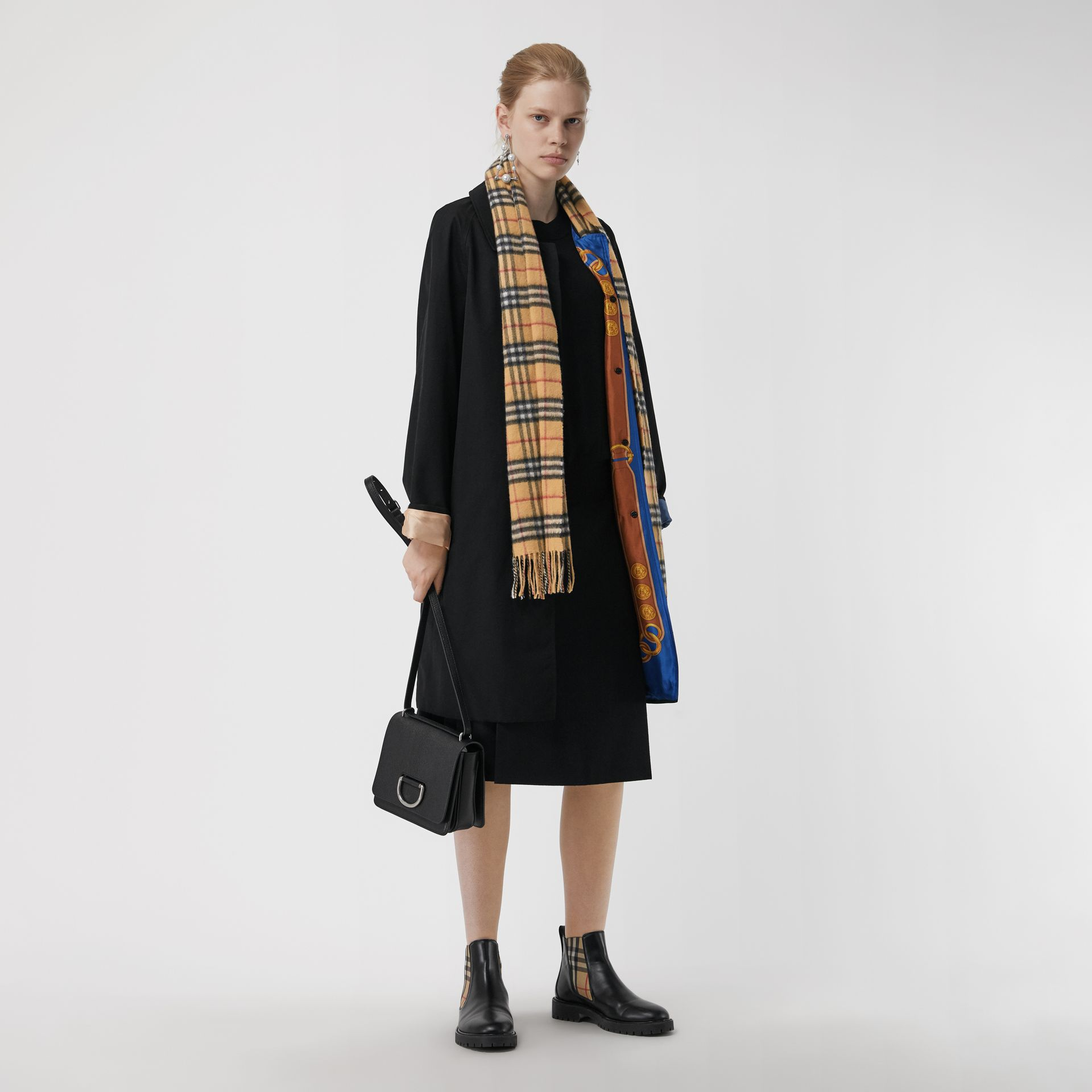 The Classic Vintage Check Cashmere Scarf in Antique Yellow | Burberry Australia - gallery image 2