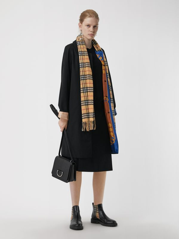The Classic Vintage Check Cashmere Scarf in Antique Yellow | Burberry Australia - cell image 2