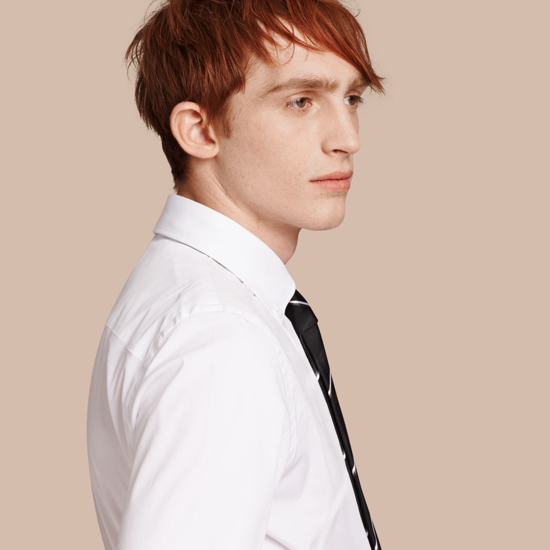 Slim Fit Button-down Collar Stretch-cotton Shirt in White - Men | Burberry Singapore - gallery image 1