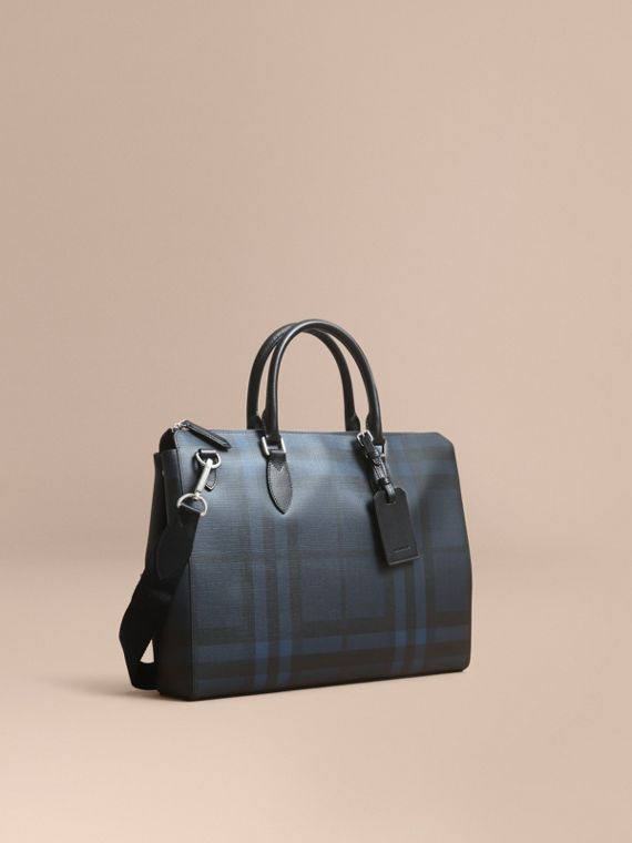 Large London Check Briefcase in Navy/black
