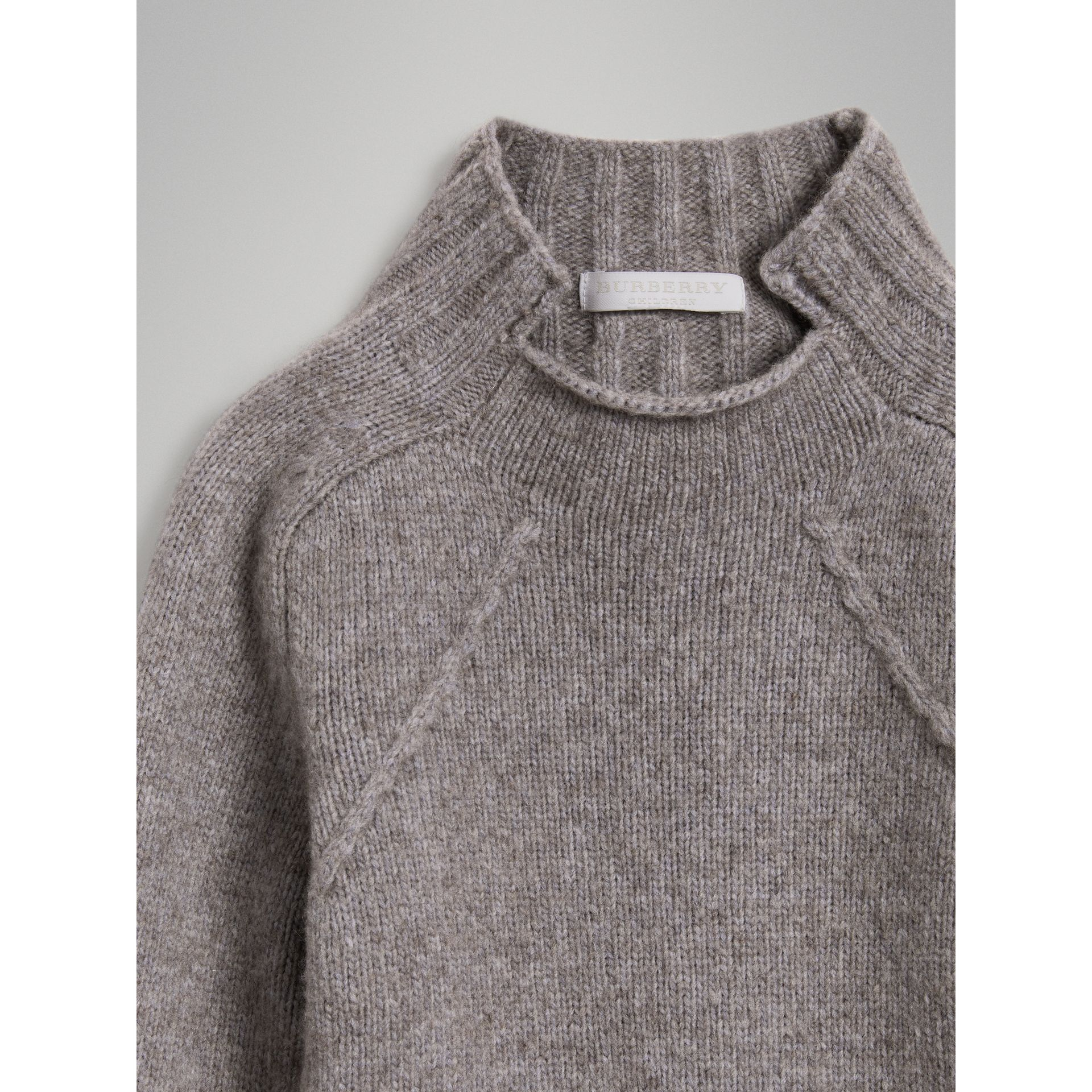 Merino Wool Blend Turtleneck Sweater in Mid Grey - Girl | Burberry - gallery image 4