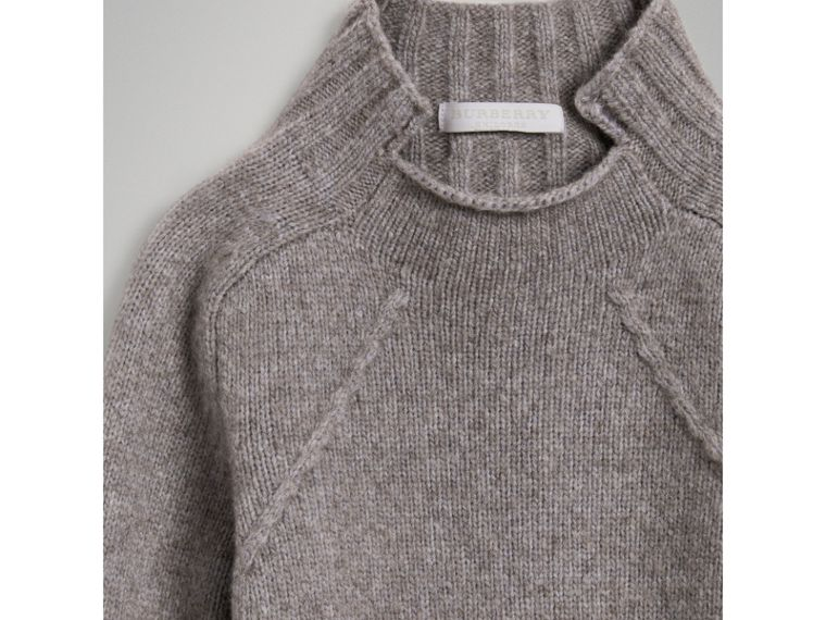 Merino Wool Blend Turtleneck Sweater in Mid Grey - Girl | Burberry United Kingdom - cell image 4