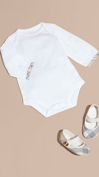 Check Detail Long-sleeved Cotton Bodysuit