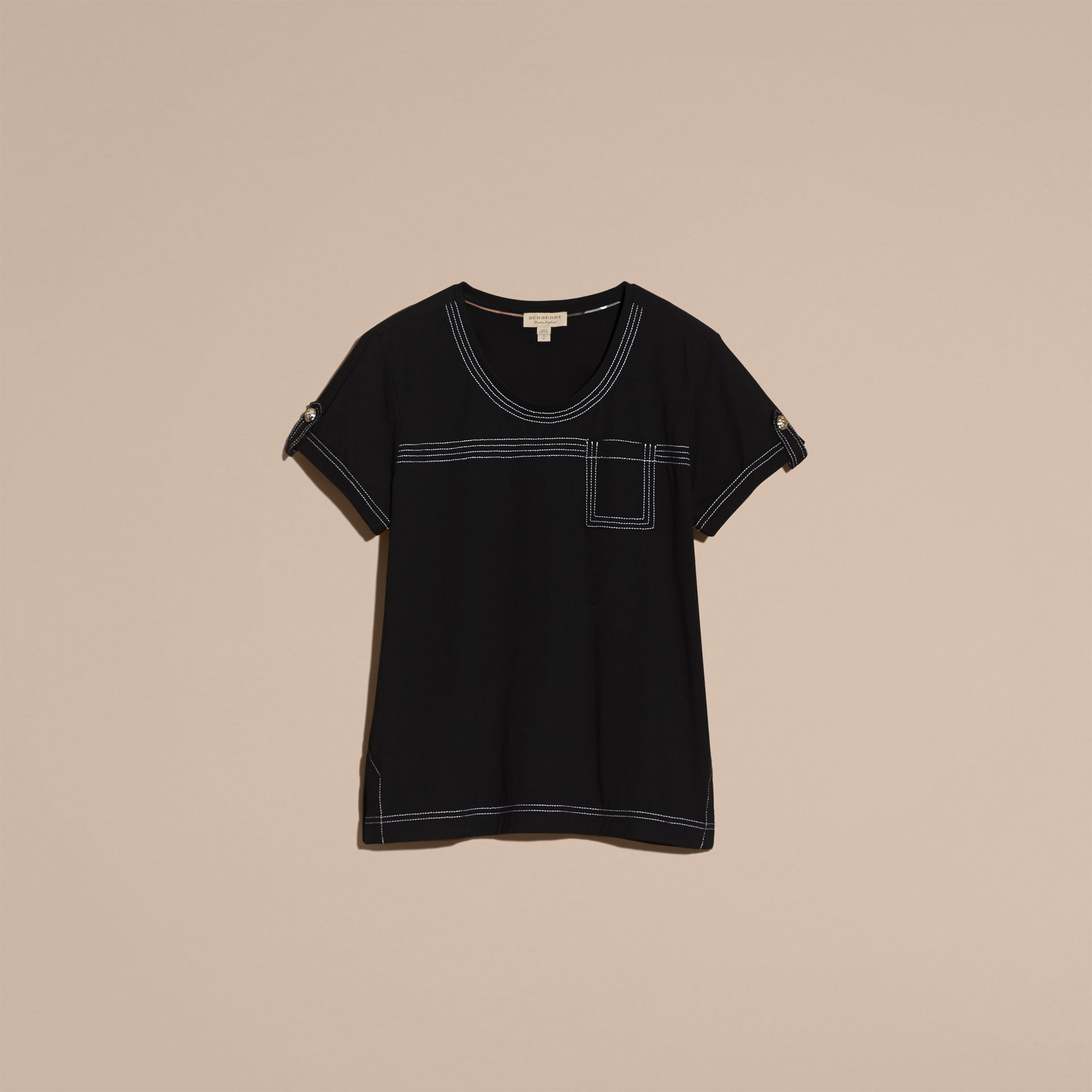Nero T-shirt in cotone con impunture Nero - immagine della galleria 4