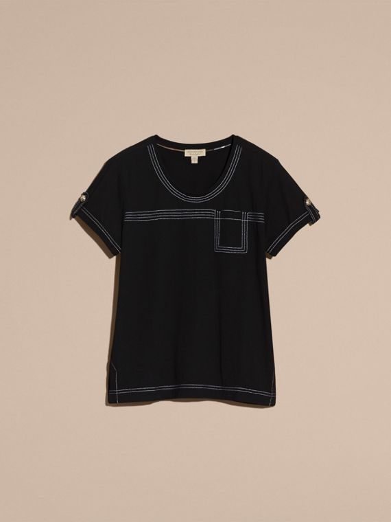 Black Topstitch Detail Cotton T-shirt Black - cell image 3