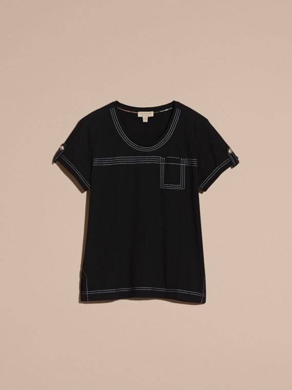 Nero T-shirt in cotone con impunture Nero - cell image 3